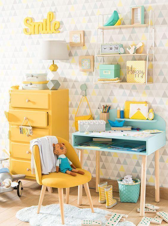 Mint, yellow & grey themed kid's room kids study area