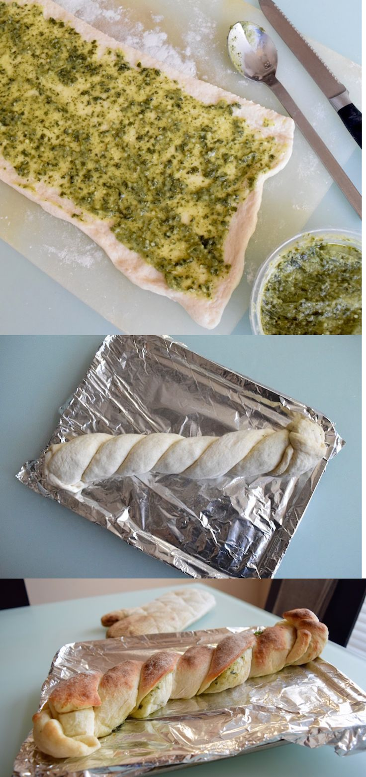 Making delicious bread doesn't have to be time-consuming or tedious. By using pre-made dough and store-bought pesto, you can make an easy and elegant pesto bread that you can eat on the side with spaghetti or as an afternoon snack. Making it into twist makes it even worthy of a spot at a classy dinner party.