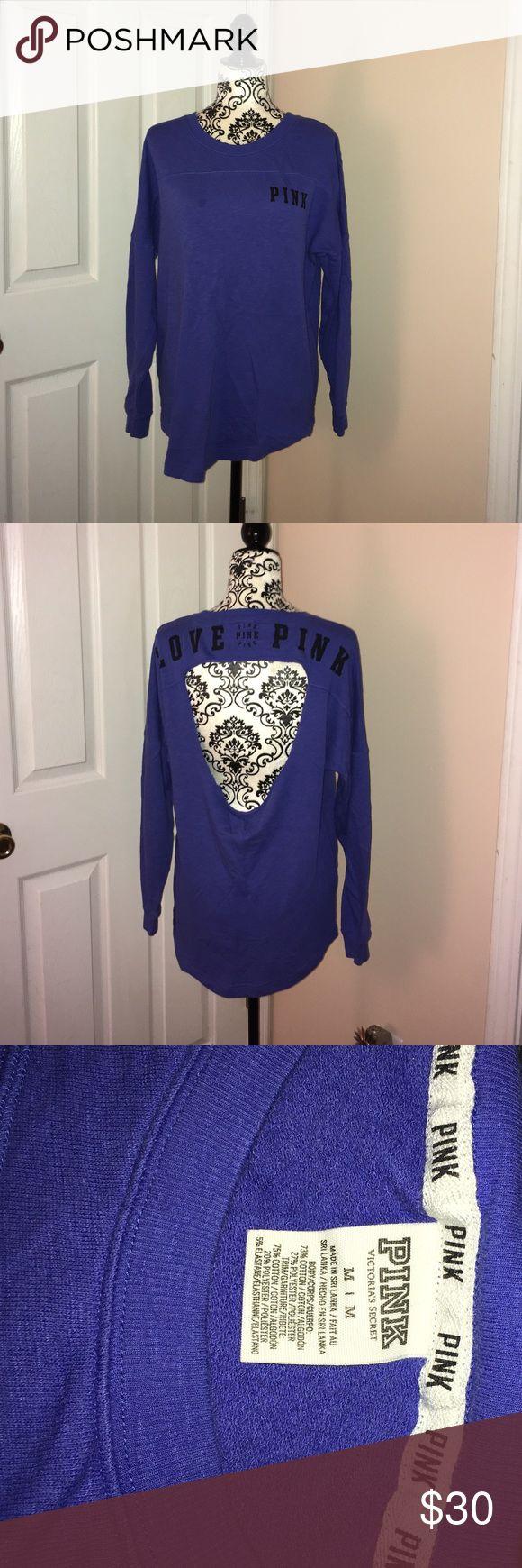 VS Pink Crewneck Open Back Sweatshirt Gently worn.  Lightweight.  Cute open back design. PINK Victoria's Secret Tops Sweatshirts & Hoodies