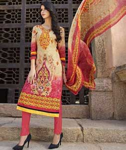 Buy Beige Lawn Cotton Churidar Suit 73445 online at lowest price from huge collection of salwar kameez at Indianclothstore.com.