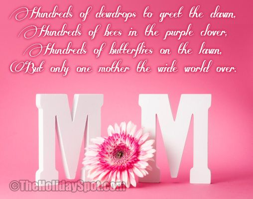 http://www.theholidayspot.com/mothersday/mothers_day_poems.htm