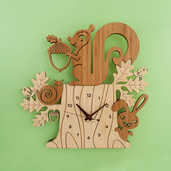 Squirrel Clock Bamboo Woodland Animal Kids by graphicspaceswood, $120.00