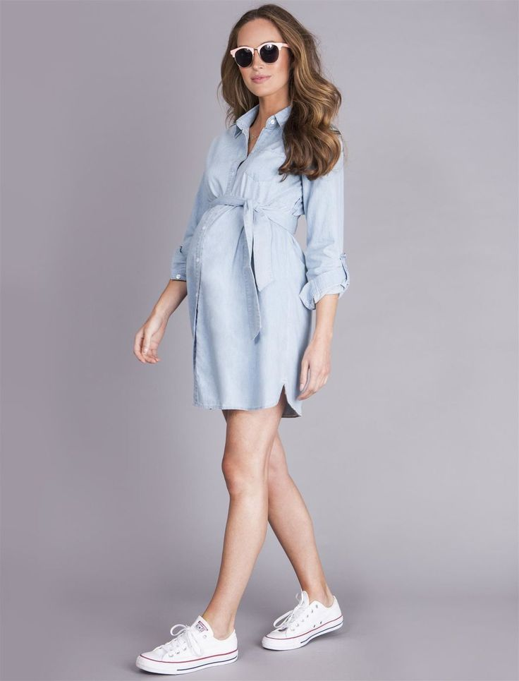 Seraphine Justine Chambray Maternity Dress, Chambray #pregnancydress,