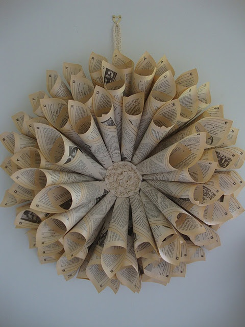 elegant way to recycle old books or sheet music. www.paintmewhite.com