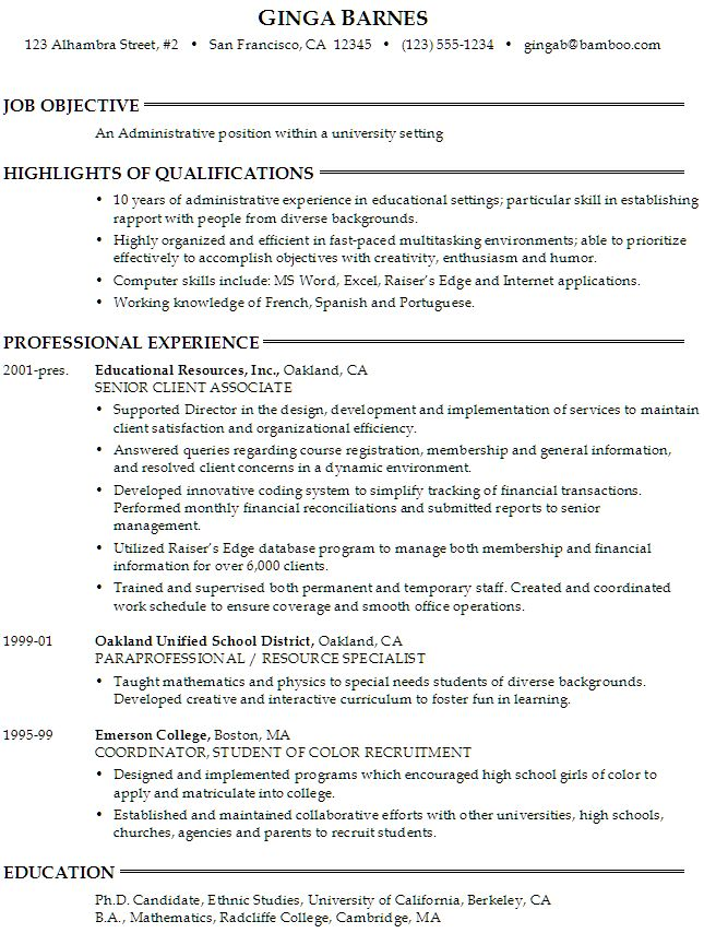 sample resume for someone seeking an administrative