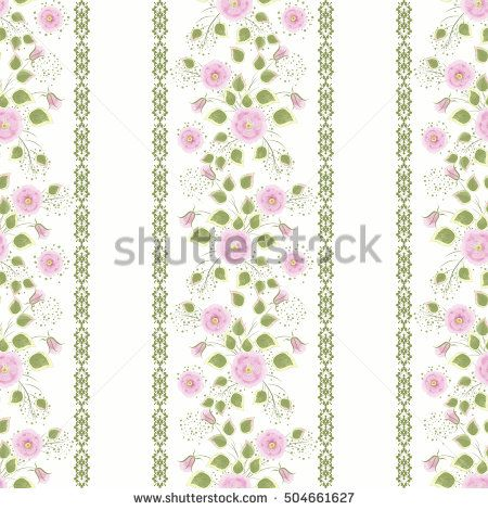 Floral seamless pattern , cute pink flowers white background stripes. For printing on fabric and paper.