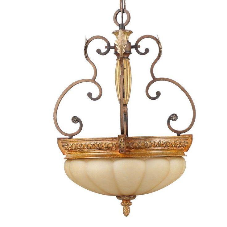 hampton bay chateau deville 3 light walnut bowl pendant chateaus home