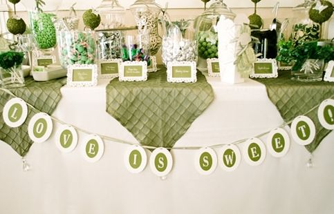 Elegant Olive Green and White Candy BarOlive Green, Celtic Green, Green Candies, Parties Ideas, Wedding Candy, Candies Bar, Pictures Frames, Tablecloth Ideas, White Candies