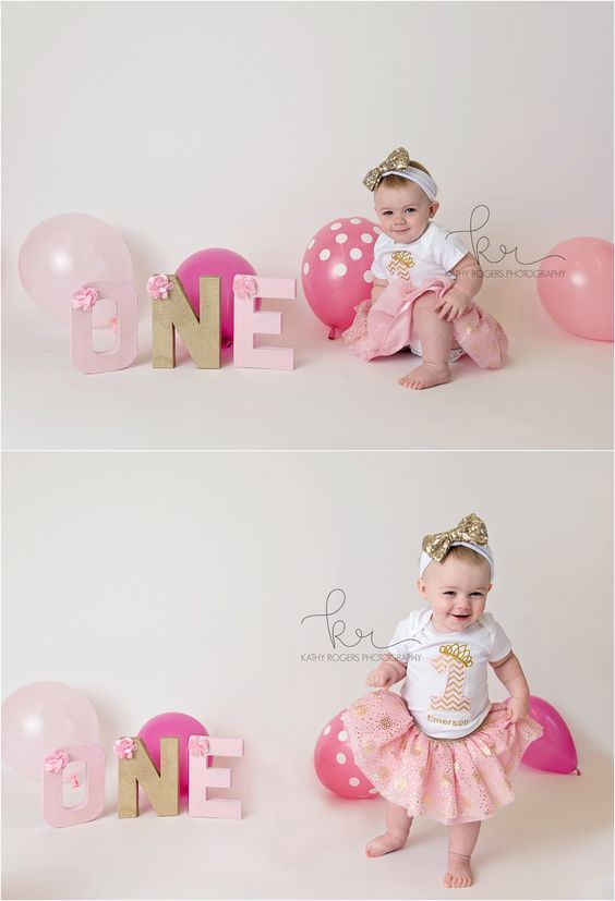 cake smash, first, Birthday, 1st, one, pink, gold, balloons, milestone, polka dot, studio, tutu, headband, little girl, photographer, photographs, pictures, photos, o, n, e