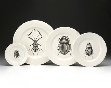 I just want an eclectic collection of her dinnerware and mugs: Beetles, Cicadas, Sea Life 2, Ferns, Nigella, and Ants -M  | Laura Zindel Beetle collection