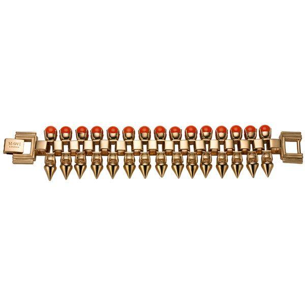 Mawi Neon Orange Pearl Spike Bracelet ($511) ❤ liked on Polyvore featuring jewelry, bracelets, spike bangle, mawi, mawi jewellery, orange jewelry and pearl bangles