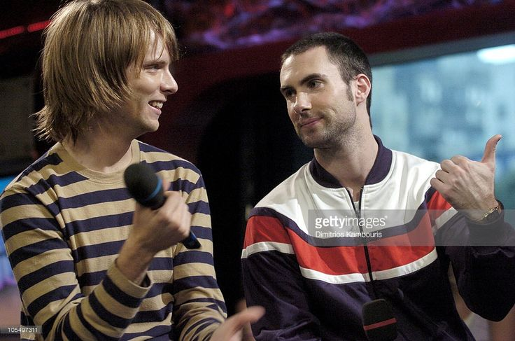 James Valentine and Adam Levine of Maroon 5 during Maroon 5 Visit Fuse's 'Daily Download' - August 19, 2004 at Fuse Studios in New York City, New York, United States.