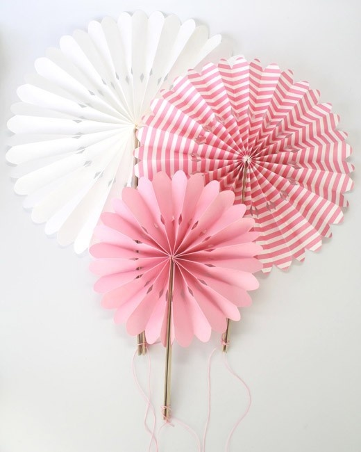 Pink Stripe Paper Fan Set - party favour girls