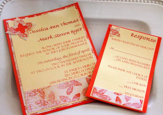 Orange and Light Yellow Wedding Invitation by ParteeofFour on Etsy, $5.65