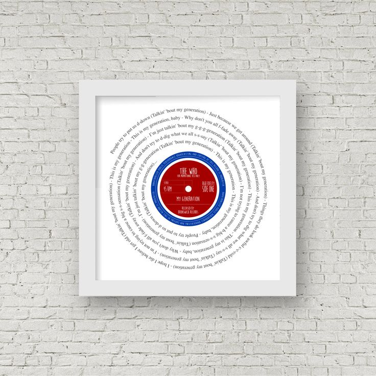 Mod Symbol - Any set of song lyrics - Retro 7 inch VINYL RECORD SINGLE Print - Vintage Christmas Birthday Valentines Anniversary Gift by SausageDogDesigns on Etsy https://www.etsy.com/listing/266723187/mod-symbol-any-set-of-song-lyrics-retro