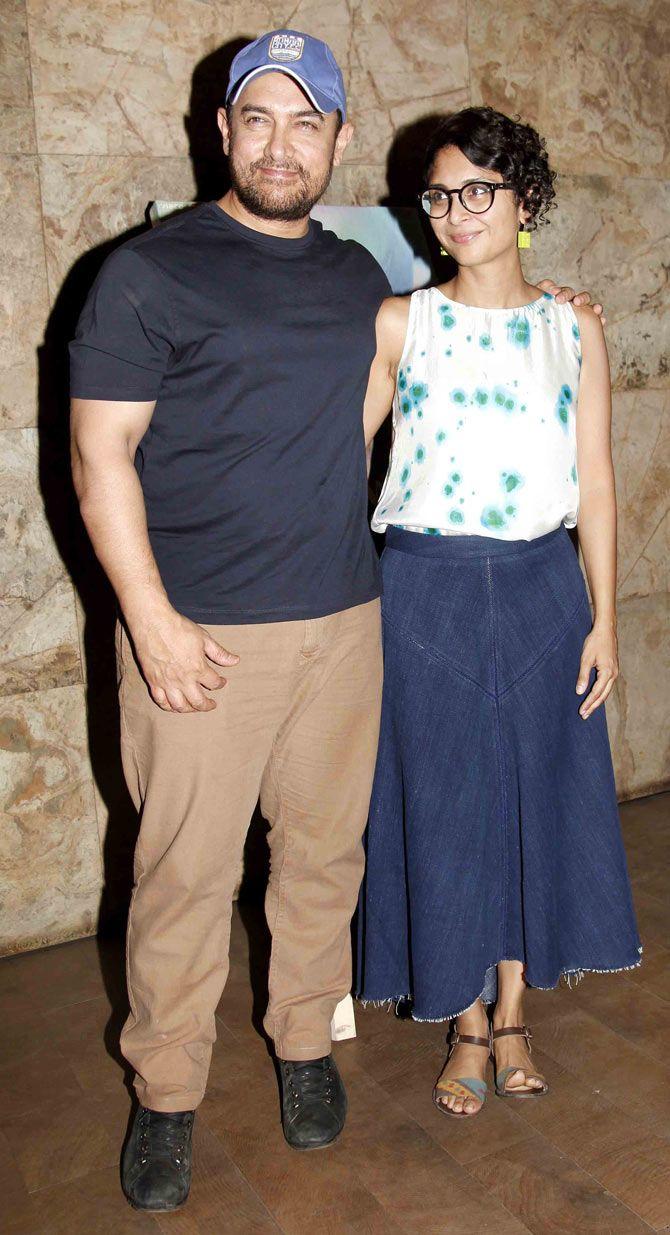 Aamir Khan and Kiran Rao at the screening of 'Margarita With A Straw'.