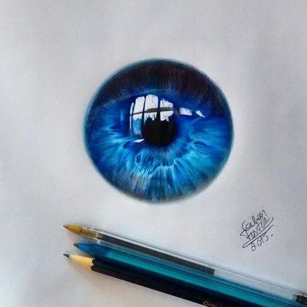 Реалистичные рисунки глаз шариковыми ручками (9 работ)