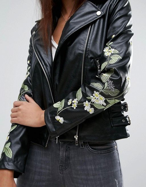Missguided | Missguided Embroidered Floral Leather Look Biker Jacket