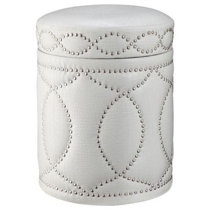 White Storage Ottoman with Nail Head Detail