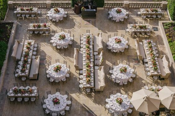 outdoor modern wedding reception layout idea