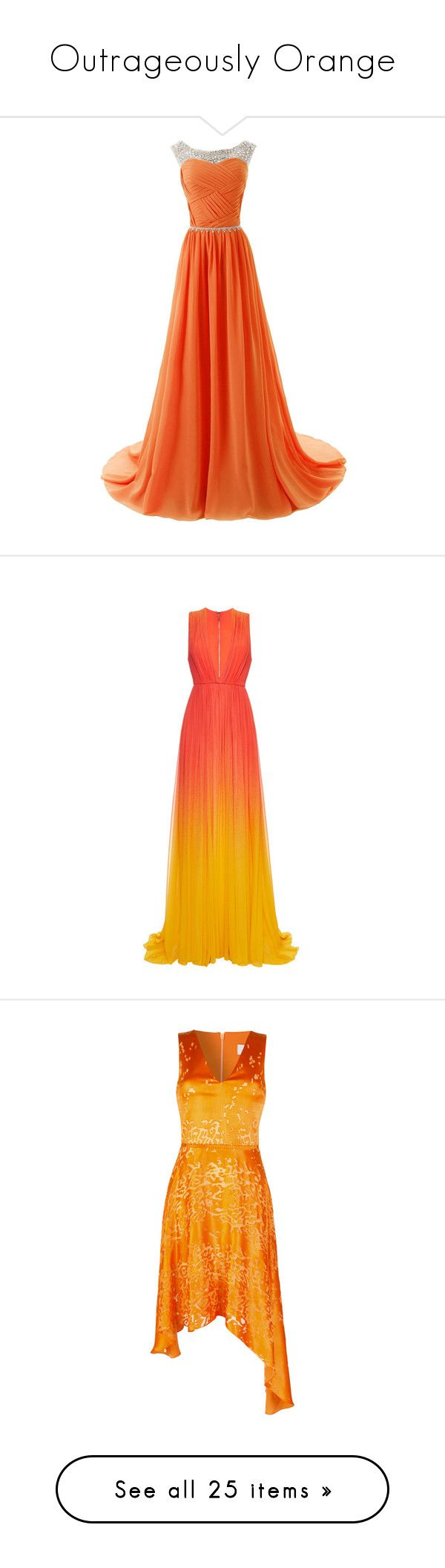 """Outrageously Orange"" by disneydressing ❤ liked on Polyvore featuring dresses, gowns, long dresses, bridesmaid dresses, beaded prom dresses, orange dress, long prom dresses, vestidos, maxi dress and red"
