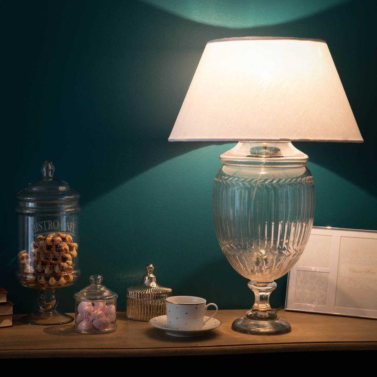 Lampe En Verre Et Abat Jour En Coton Beige H 67 Cm Laurine