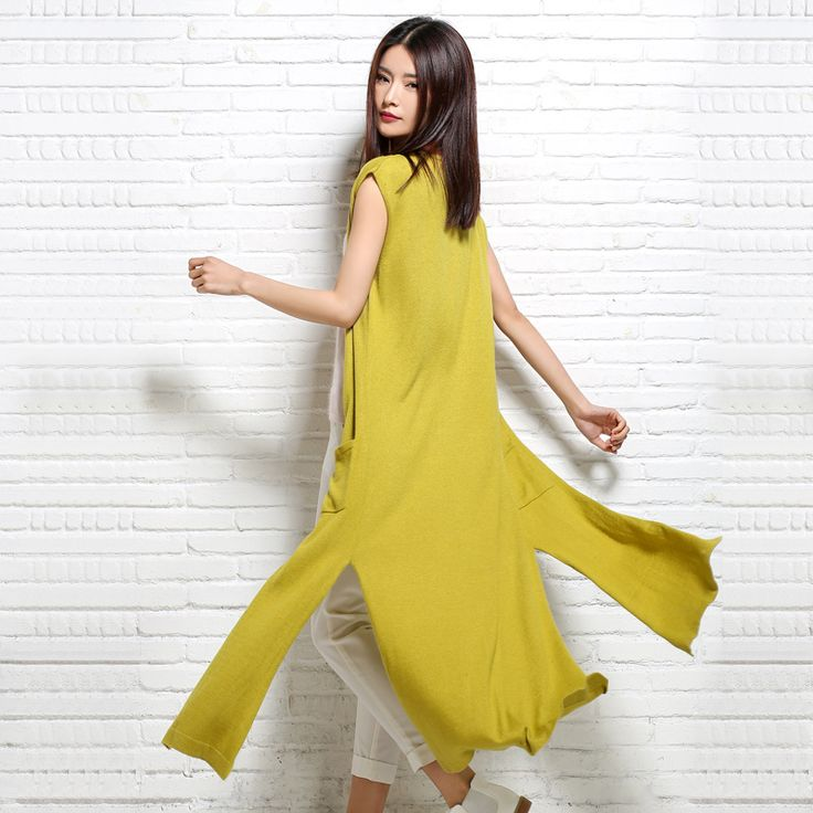 Summer Fashion V Neck Sleeveless Long Women Vest Knitted Cardigan Outerwear Female Spring Red And Yellow Mujer Coats