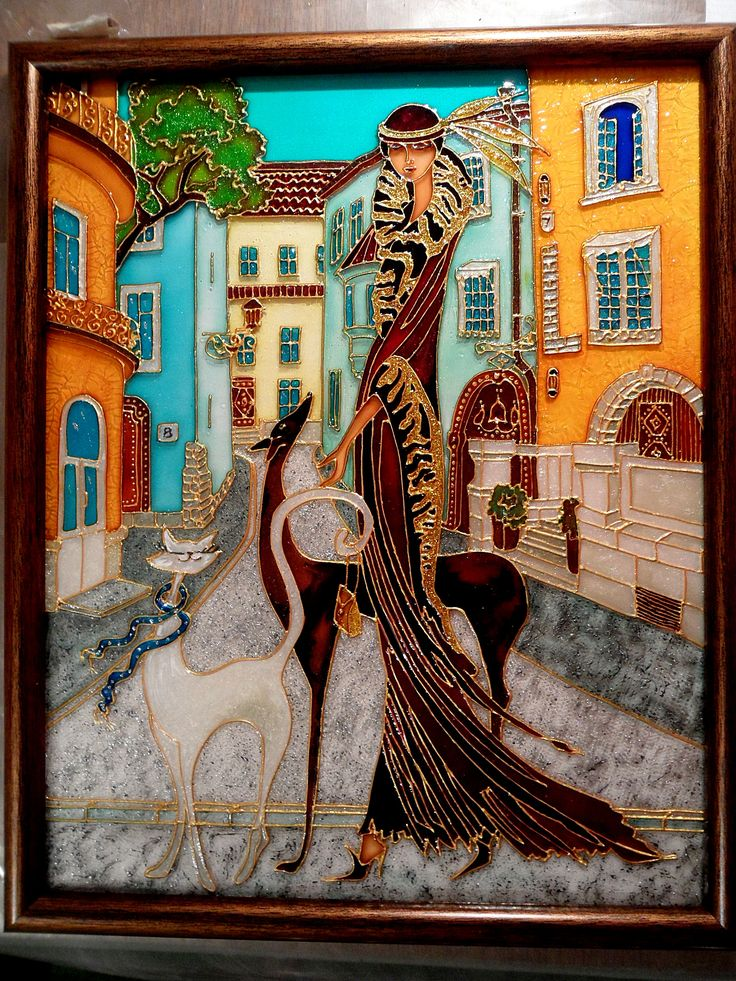 Picture   Hand painted stained glass.