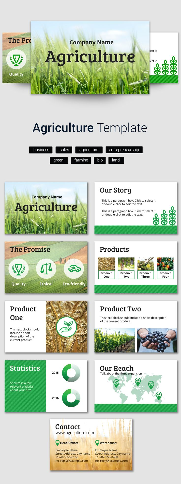 The search is over! Here's the #agribusiness presentation template that you were looking for!   #agriculture #organic