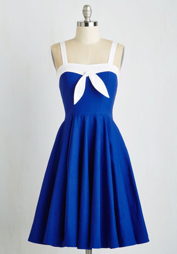 Mainstay by my Side Dress. Like the sand and sea, you and this nautical fit and flare are simply meant to be! #blue #modcloth