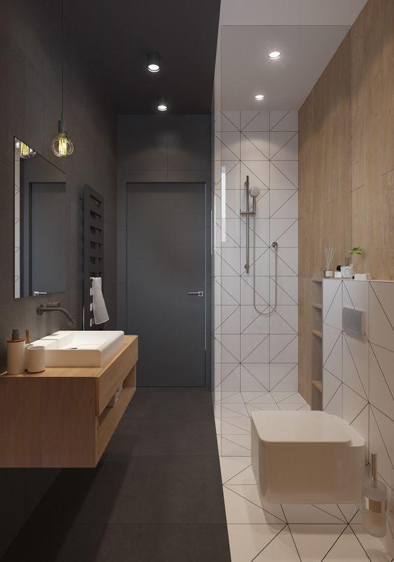 Piccolo bagno scandinavo estremamente originale in combinazione di colori bianco e nero - casa moderna: