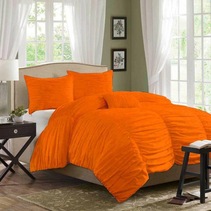 Orange bedding.