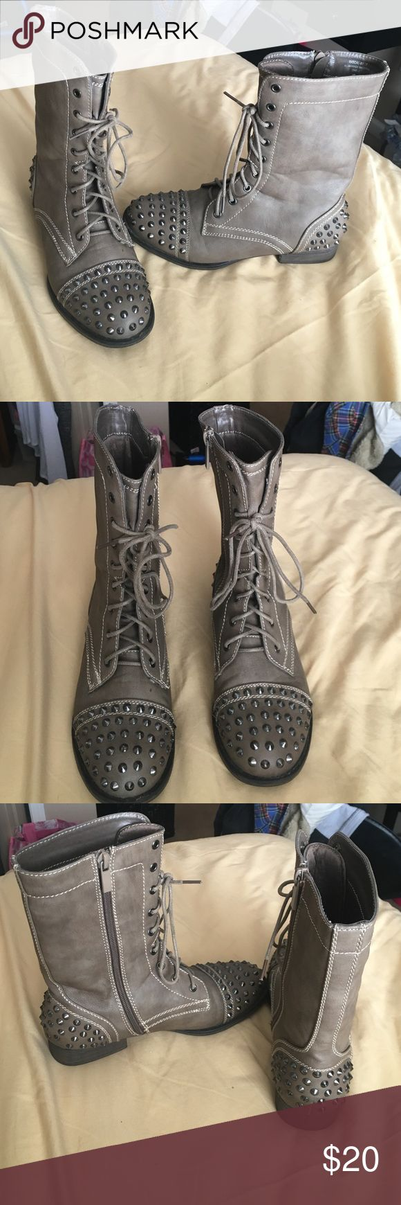 Studded combat boots Grey/army green studded combat boots, size 7, great condition barley worn, brand is Bamboo Shoes Combat & Moto Boots
