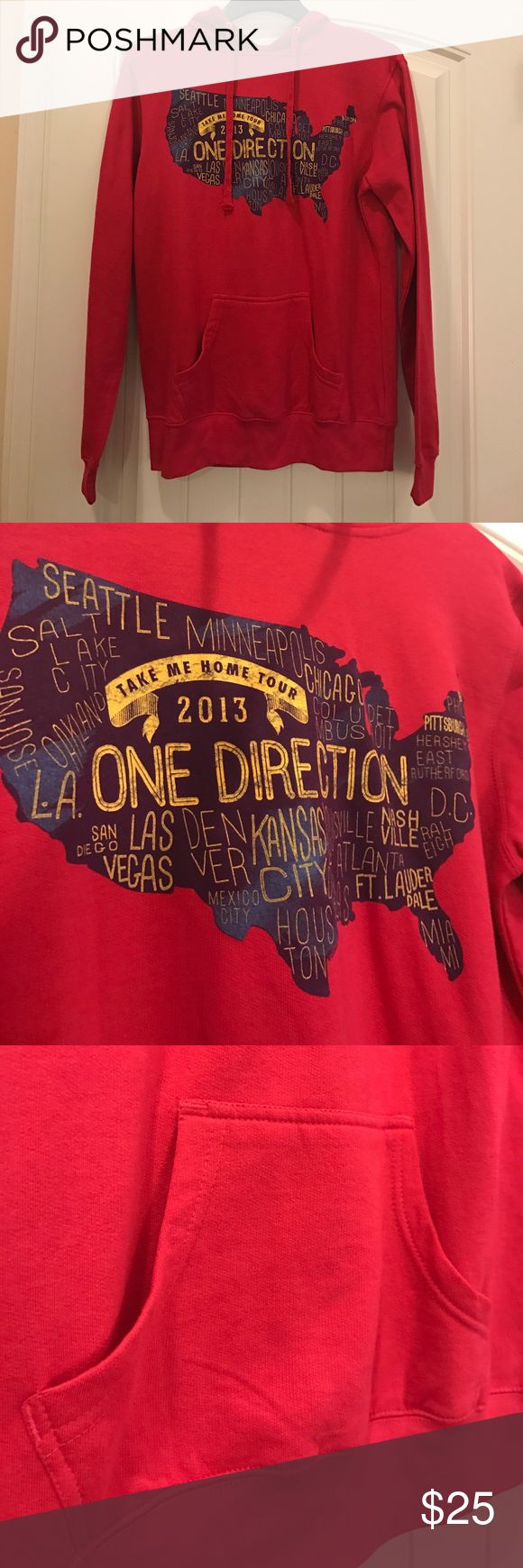 NEVER BEFORE WORN ONE DIRECTION PINK HOODIE This new One Direction Hoodie is adorable and from their 2013 Take Me Home Tour. It is really soft and perfect for Juniors! Independent Trading Company Tops Sweatshirts & Hoodies