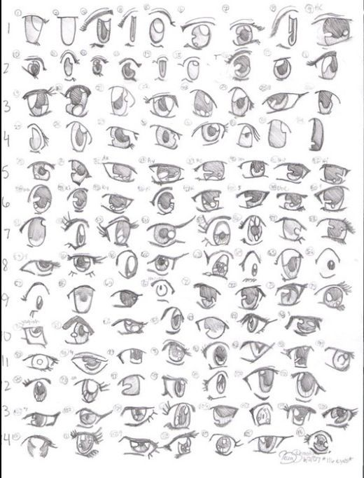 This image shows all different type of eyes that can be used on a character.
