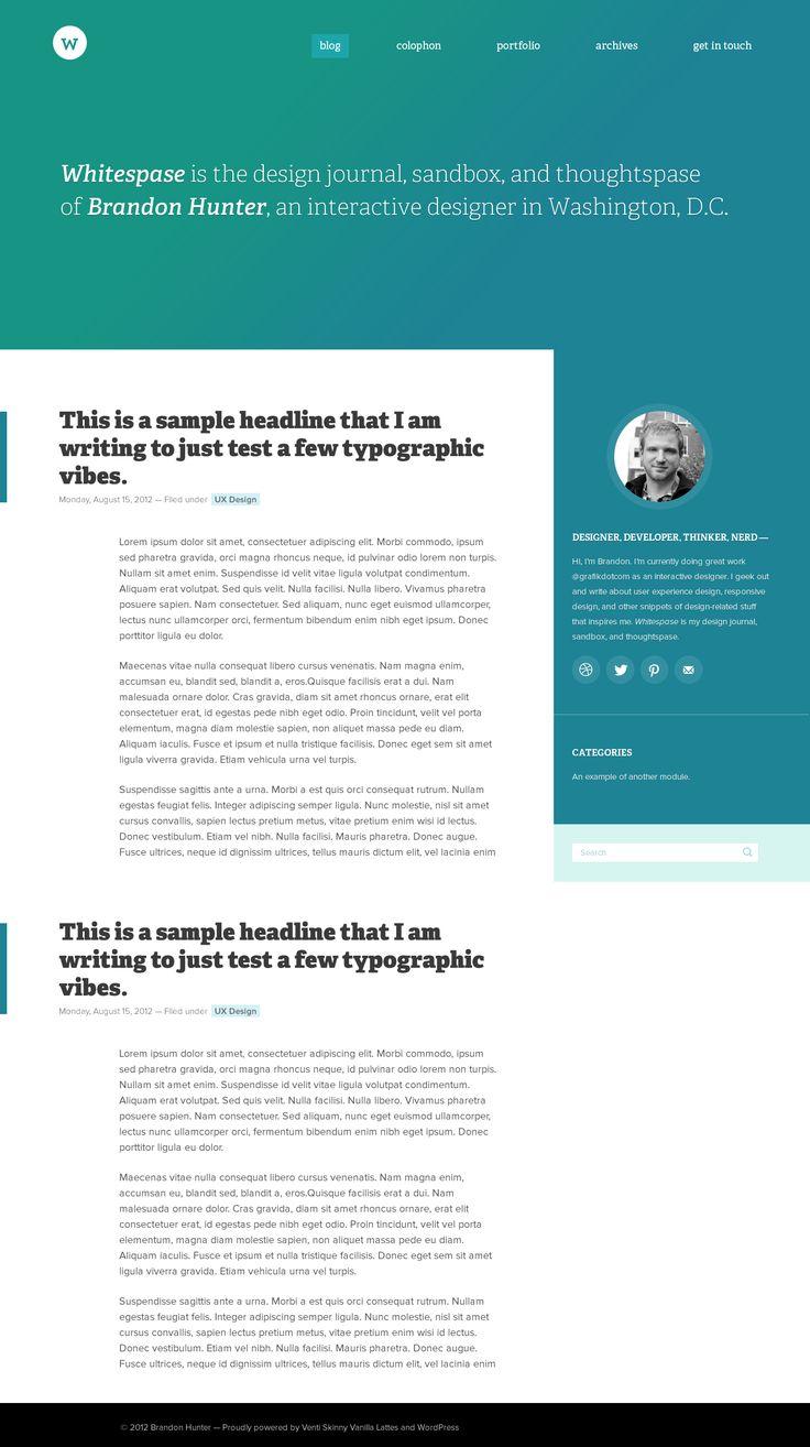 Whitespase wordpress website by Brandon Hunter