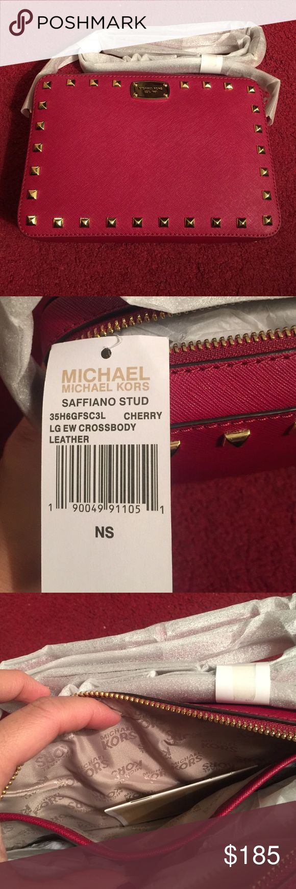 MICHAEL KORS Large safiano leather crossbody bag! Brand new mk saffiano leather large crossbody bag  color cherry 😉👌🏼👌🏼👌🏼 PRICE IS Negotiable😉 No low  ballers Pls😉 Michael Kors Bags Crossbody Bags