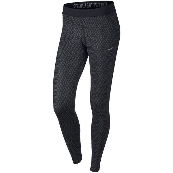 Nike Printed Relay Tight Leggings ($65) ❤ liked on Polyvore featuring activewear, activewear pants, nike sportswear, nike, nike activewear and nike activewear pants