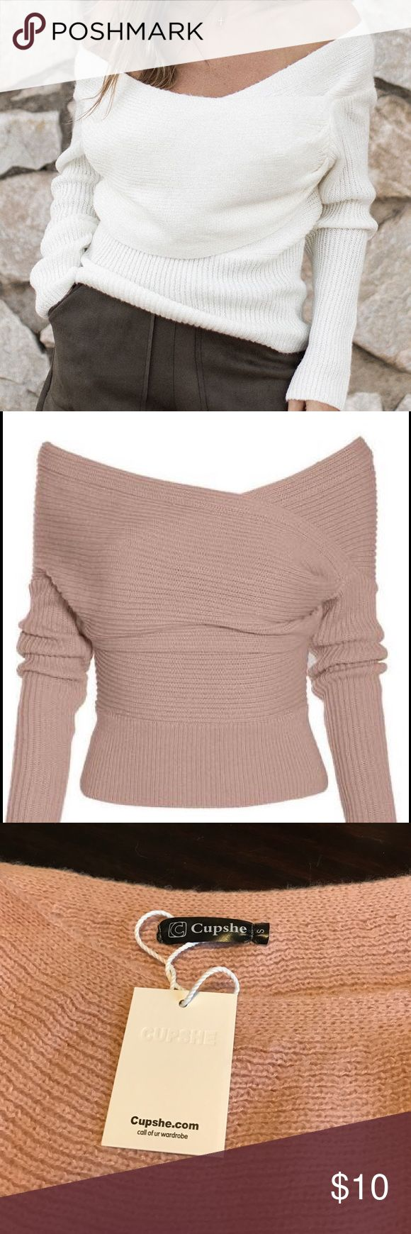 Cross Ribbed Sweater in Apricot Apricot cross ribbed knit sweater by Cupshe. New with original tags, never worn! Drape sweeps across front and gathers at the side. Wide neckline. First image is from manufacturers website and shows style, other images show color. Size small. As an extra small, I was hoping it would fit me, but it's too big. Sweaters