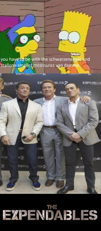 Tumblr the simpsons the expendables movie cartoons frases sylvester stallone arnold schwarzenegger jean claude van damme bart simpson frase.