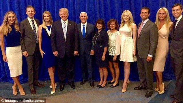 The Donald Trump and Mike Pence Families. Vote Trump Pence 2016. Make America Great Again