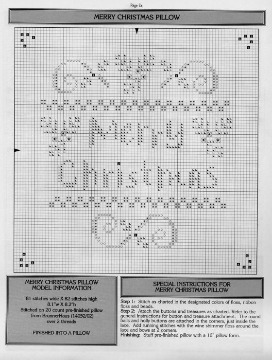 Merry Christmas • chart – I have stitched this design in Red and Green and it looks super 12/14