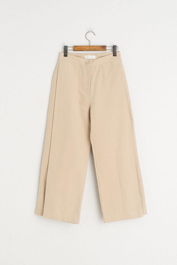 Button Close Cotton Wide Leg Jean, Beige
