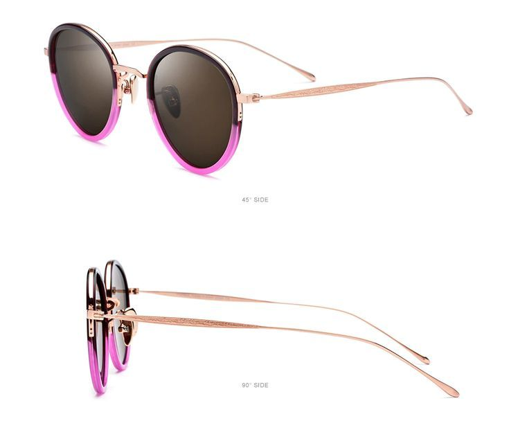 Pure B Titanium Acetate Polarized Sun shades Ladies 2019 New Trend Classic Spherical Sunglass Males Retro…