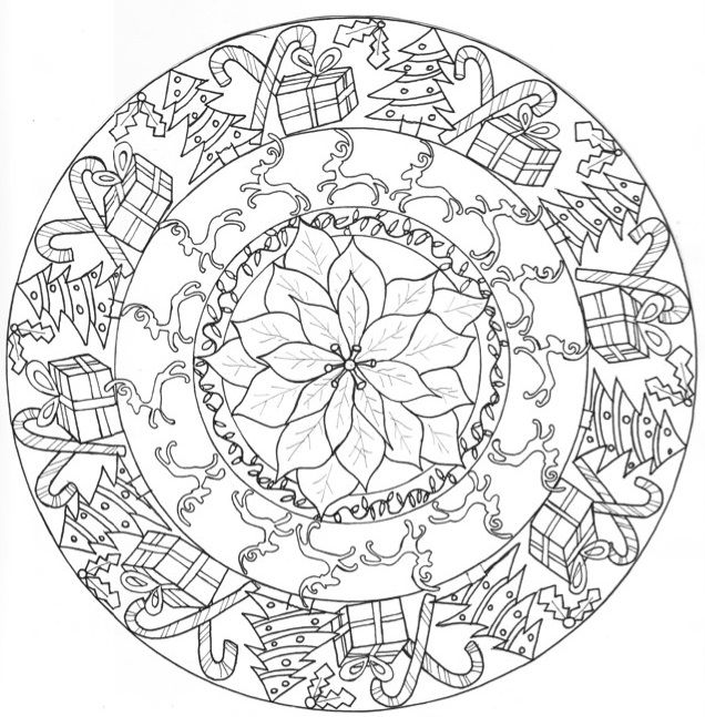 Handrawn, Original Christmas Mandala by MyArtMyWorldMyVision, December 2014 Created with the holiday season in mind, as well as creating a coloring page for everybody to enjoy. Merry Christmas & Happy Holidays!