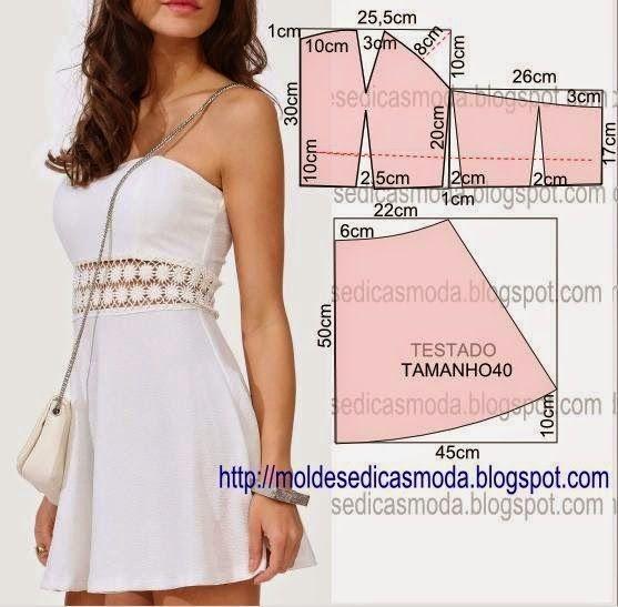 Molde de vestido tamanho 40. A ilustração do molde do vestido não tem valor de costura tem que ser acrescentado.