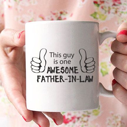 """father in law gift,""""this guy is one awesome father in law"""" mug, gifts for father in law, fathers day gift, father in law wedding gift MU124 by artRuss on Etsy"""