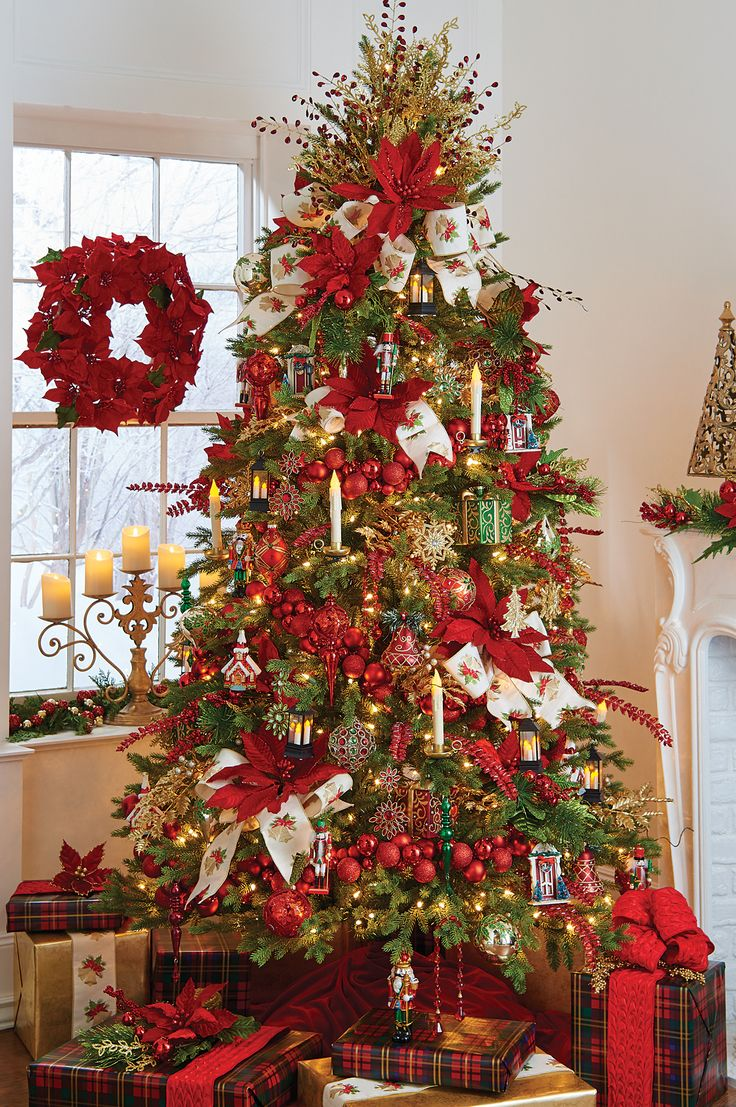Red and white christmas tree decorating ideas - Like The Red Ball Garland Trimmed With Tradition Christmas Tree By Raz Imports