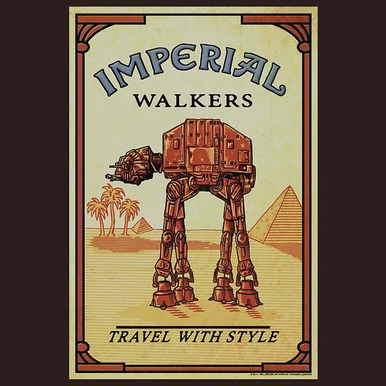 I have to hand it to RedBubble designer helljester, merging the classic Star Wars Imperial Walker with the vintage Camel cigarette design is just perfect.  The Star Wars Imperial Walker Turns Camel T-Shirt shows us that retirement in warm communities isn't just for humans; AT-ATs need the h
