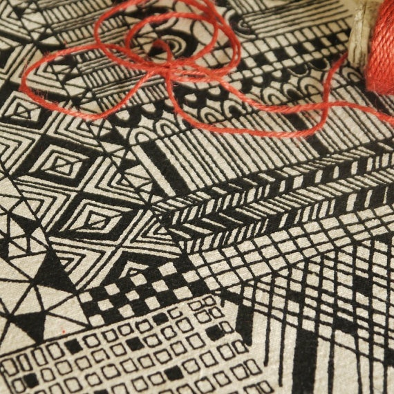 tiled   screenprinted fabric in coal black by summersville on Etsy, £5.00